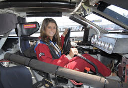 Women driver inside of stock car