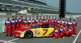 Group shot behind of stock car at Pocono Raceway