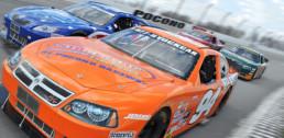 Four stock cars racing at Pocono Raceway