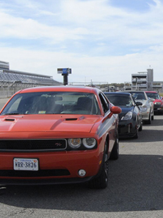 Cars Lined up on the Track