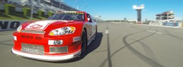 Red Nascar Stock Car on race track